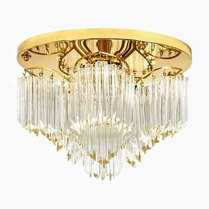 Triedri Crystal Gold-Plated Flush Mount from Venini, Italy, 1970s