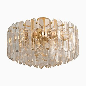 Gilt Brass and Glass Palazzo Light Fixture Flush Mount by J.T. Kalmar, 1960s