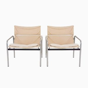 Canvas and Metal Ultrex Lounge Chairs by Just Meijer for Kembo, the Netherlands, 1970s, Set of 2