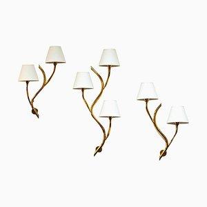 Lámparas de pared noruegas Mid-Century de latón de Astra, años 50. Juego de 3