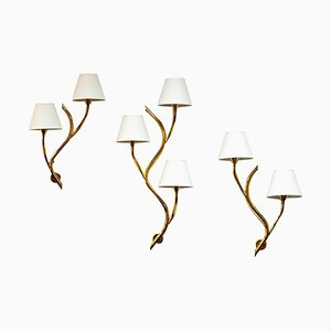 Mid-Century Norwegian Brass Branch Wall Lights from Astra, 1950s, Set of 3