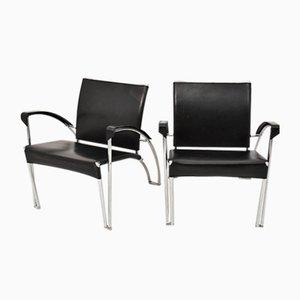 Armlehnstühle aus Schwarzem Leder und Chrom, 1970er, 2er Set
