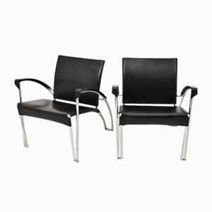 Black Leather and Chrome Armchairs, 1970s, Set of 2