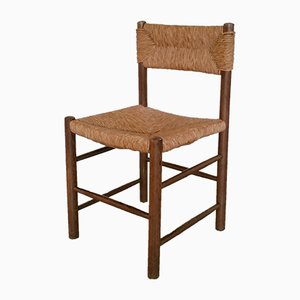 Wood and Rush Dining Chairs, 1960s, Set of 2