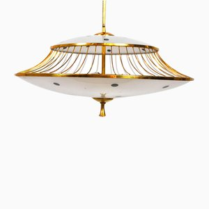 Vintage Italian Brass and Frosted Glass Ceiling Lamp, 1950s