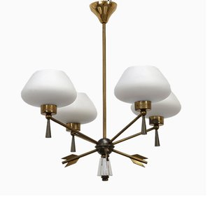 Ceiling Lamp in Brass and Glass by Marcel Asselbur for Asselbur, 1950s