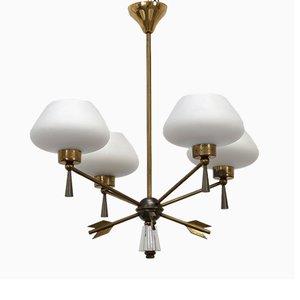 Lampada da soffitto in ottone e vetro di Marcel Asselbur per Asselbur, anni '50