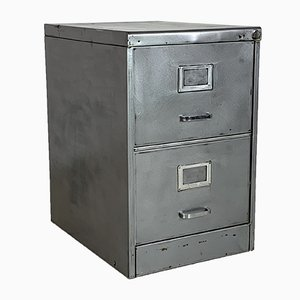 Mid-Century Striped and Polished Steel Filing Cabinet with Two Drawers