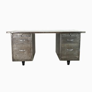 Vintage Industrial Polished Steel Double Pedestal Desk, 1960s