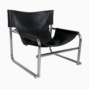 Vintage Chrome and Leather Model T1 Sling Chair by Rodney Kinsman, 1970s