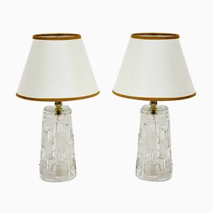 Vintage Glass Table Lamps, 1960s, Set of 2
