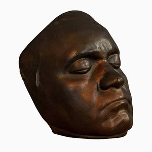 Vintage English Bronze Memento Mori Death Mask, 1960s