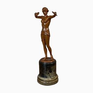 Französische Vintage Art Deco Statuette aus Bronze, 1930er