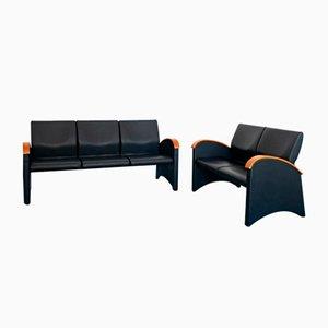 Divani vintage moderni in ecopelle nera con 3 sedute e 2 sedute di Throna, anni '70, set di 2