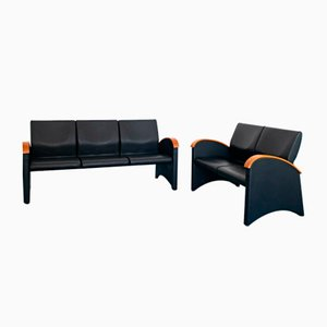 Vintage Modern Black Eco-Leather 3-Seat & 2-Seat Sofas from Throna, 1970s, Set of 2