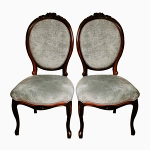 Napoleon III Carved Mahogany Side Chairs, Set of 2