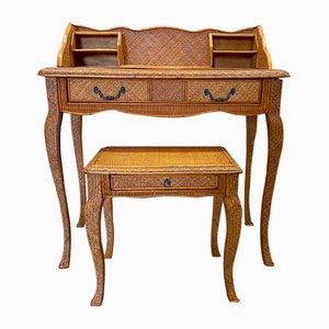 Juego de escritorio vintage y taburete de mimbre, años 40