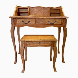 Vintage Desk and Wicker Stool Set, 1940s