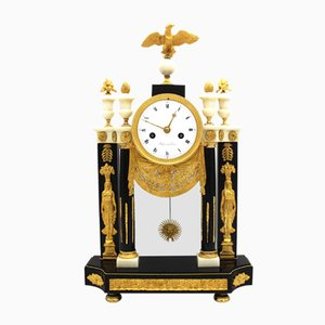19th Century Empire Portico Gilt Bronze and Marble Pendulum Clock