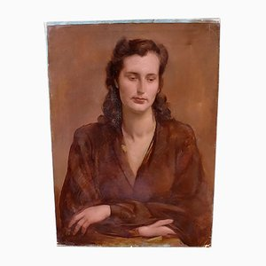 Oil on Canvas Portrait of Adrienne by Alfons Verheyen, 1940s