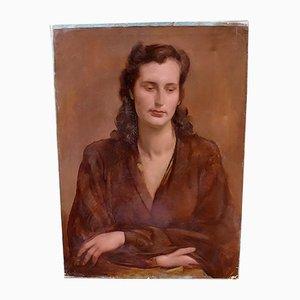 Óleo sobre lienzo Retrato de Adrienne de Alfons Verheyen, años 40