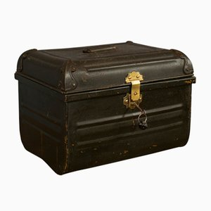 Vintage Art Deco English Metal Tin Trunk, 1940s