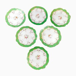 Antique Napoleon III French Hand Painted Plates by Porcelain de Paris, 1870s, Set of 6