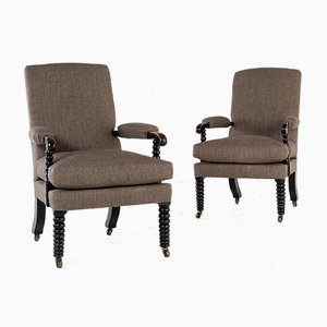 19th Century English Regency Ebonized Bobbin Armchairs, Set of 2