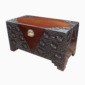 Oriental Carved Teak and Camphor Wood Chest, 1920s