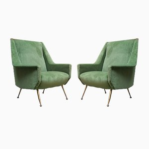 Mid-Century Italian Green Velvet Lounge Chairs with Brass Tips, 1950s, Set of 2