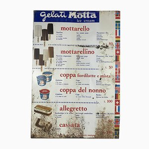 Italian Advertising Screen Printed Metal Motta Ice Cream Sign, 1970s