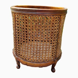 Louis XV Style Wood and Wicker Waste Basket