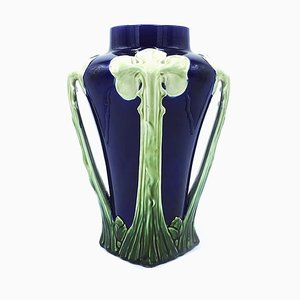 Antique Italian Blue and Green Floral Ceramic Vase, 1900s