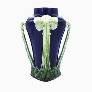 Vase Antique Floral Bleu et Vert en Céramique, Italie, 1900s