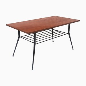 Mid-Century Italian Wooden Coffee Table with Magazine Rack, 1960s