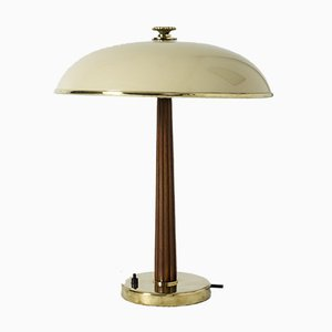 Vintage Swedish Brass and Mahogany Table Lamp from Böhlmarks