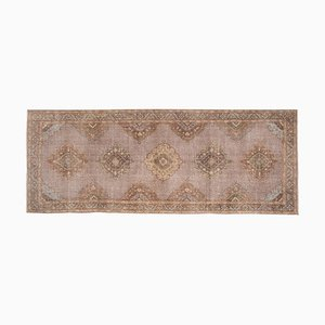 Turkish Distressed Oushak Runner Rug with Muted Color, 1970s