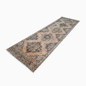Vintage Turkish Anatolian Hand-Knotted Oushak Runner Rug with Traditional Design, 1970s