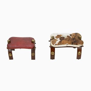 Leather Egyptian Camel Saddle Footstools, 1962, Set of 2