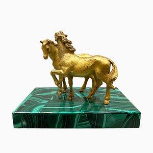 Skulptur aus Bronze und Malachit, 19. Jh