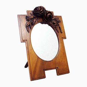 Carved Walnut Mirror, 1940s