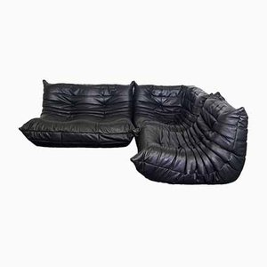 Black Leather Togo Modular Sofa by Michel Ducaroy for Ligne Roset, 2000s