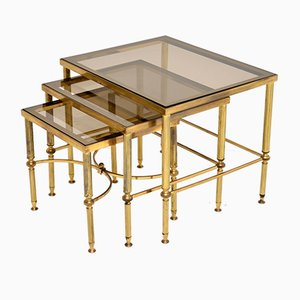 Italian Brass & Glass Nesting Tables, 1950s