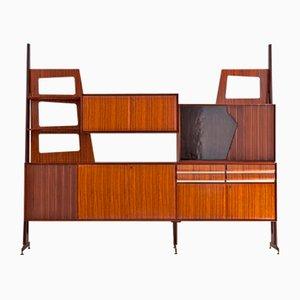 Mueble de pared italiano Mid-Century con mueble bar, años 50
