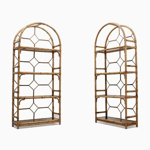 Vintage Italian Rattan Bookcase, 1970s, Set of 2