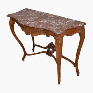 19th Century Louis XV Style Blonde Walnut Console Table