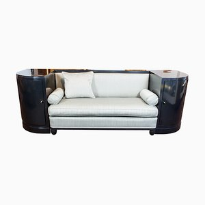 Art Deco Black Ebonized Sofa, 1920s