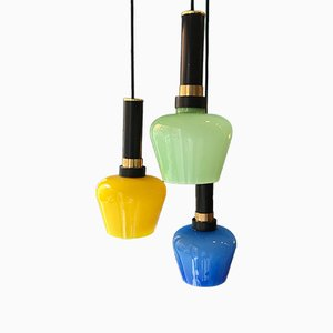 Mid-Century Ceiling Lamp with Colored Glass from Vistosi, 1960s
