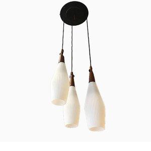 Deckenlampe aus Opalglas & Teak, 1950er
