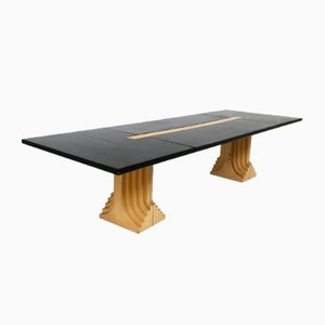 Large Itaian Black Doria Series Dining Table by Carlo Scarpa for Gavina, 1980s